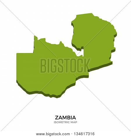 Isometric map of Zambia detailed vector illustration. Isolated 3D isometric country concept for infographic