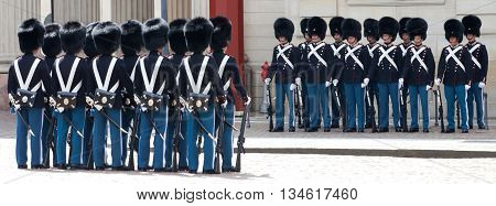 COPENHAGEN, DENMARK - 17 MAY 2012: Сhanging of the honor guard at the Royal Palace Amalienborg in Copenhagen, 17 may 2012, Copenhagen, Denmark