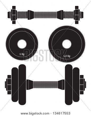 Weights dumbell. Vector illustration isolated on white background