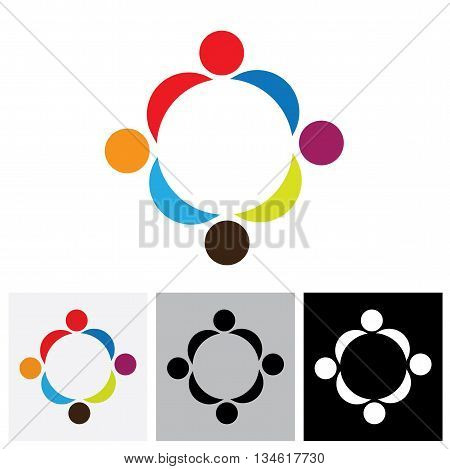 Abstract Colorful People Vector Logo Icons Showing Close Relationship
