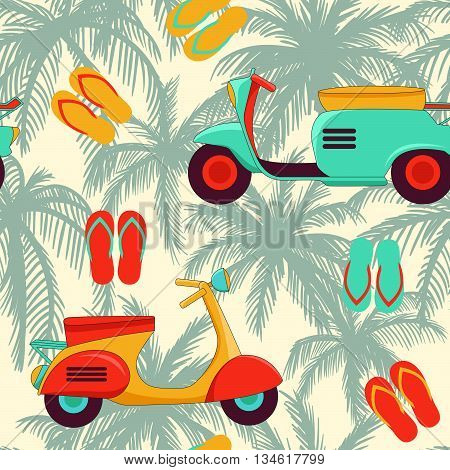 Seamless background with scooters palm trees and flip-flops.Summertime and vacation background.