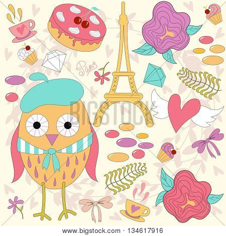 Romantic set with cute cartoon owl in Paris cup of tea cake and Eiffel Tower.Vector illustration.