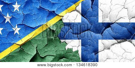 Solomon islands flag with Finland flag on a grunge cracked wall