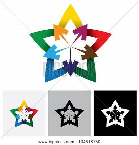 Abstract Graphic Of Colorful Star & Arrow Vector Logo Icon Or Symbol