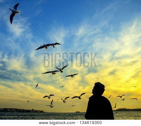 Istanbul Turkey. Sea of Marmara the Bosphorus in the evening. sunset seagulls and people