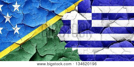 Solomon islands flag with Greece flag on a grunge cracked wall