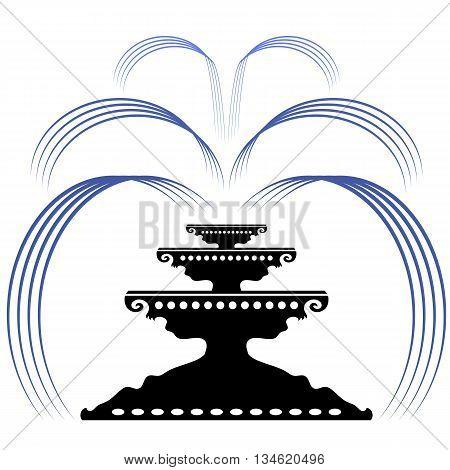 Retro Fountain Silhouette Icon Isolated on White Background