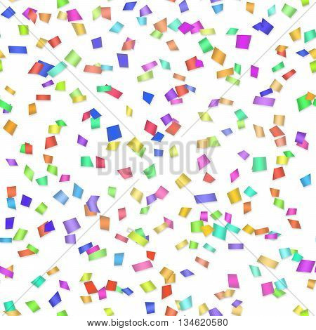 Vector Seamless background with many tiny pieces of colored confetti