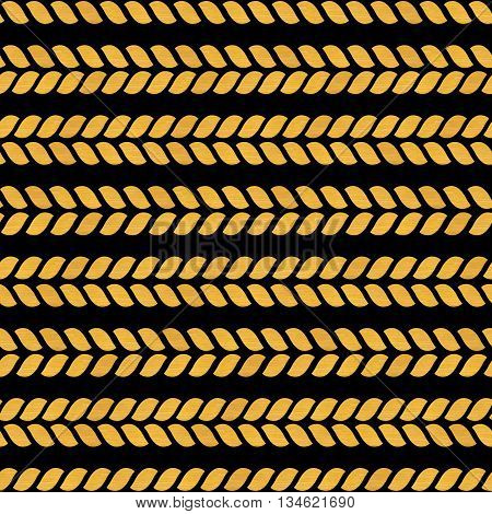 Gold Seamless Pattern. Braids With Golden Texture On A Black Background. Yellow Rope. Cute Holiday W