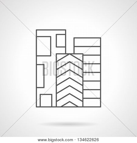Three rolls of linoleum with different print. Floor covering. Store of construction and decoration materials. Flat line style vector icon.