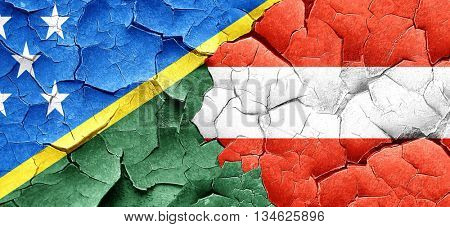 Solomon islands flag with Austria flag on a grunge cracked wall