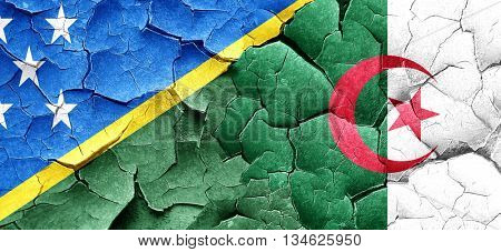 Solomon islands flag with Algeria flag on a grunge cracked wall