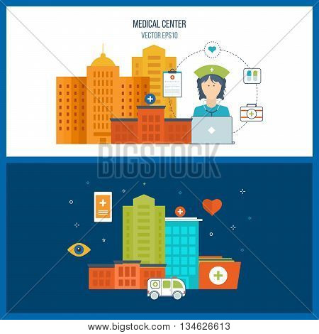 Vector illustration concept for healthcare, medical help and research. Online medical diagnosis and treatment. Medical first aid. Ambulance. Hospital building