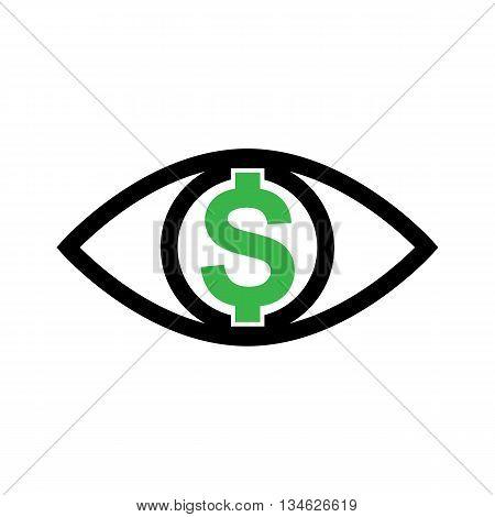 Eye With Dollar Icon, Greed Or Need Money Symbol
