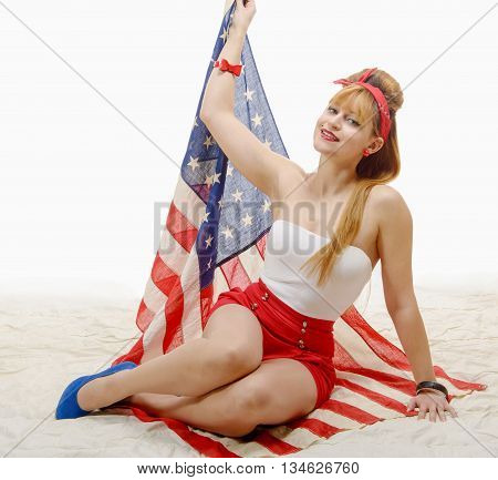 a sexy pin up girl with an American Flag