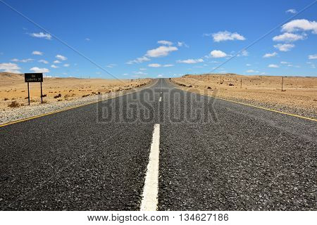 A newly tarred road to Luderitz in the Namib desert Namibia Africa