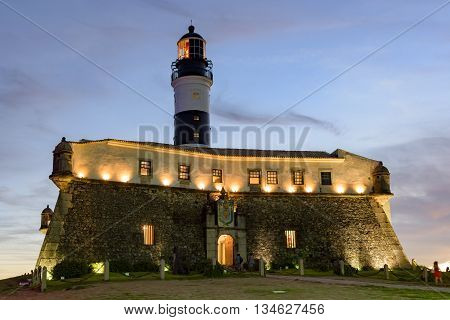 Barra Lighthouse an ancient fortification transformed into a museum in front of the Bay of All Saints and one of the main tourist hotspots of the city of Salvador Bahia