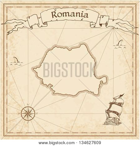 Romania Old Treasure Map. Sepia Engraved Template Of Pirate Map. Stylized Pirate Map On Vintage Pape