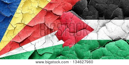 seychelles flag with Palestine flag on a grunge cracked wall