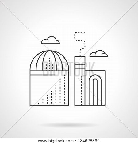 Industrial Facilities and buildings, factories and plants. Coal power station. Environment pollution problem. Flat line style vector icon.