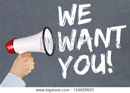 We Want You Jobs, Job Working Recruitment Employees Business Concept Career Megaphone