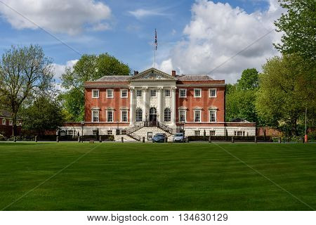 The Warrington town hall designed by architect James Gibbs is located in Warrington England.
