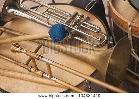 Trumpet, Trombone And Bass Drum