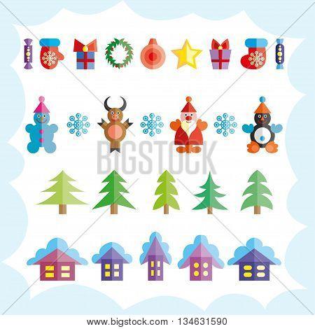 Christmas holiday icons and symbols winter set