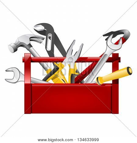 Red toolbox toolbox - repairman equipment on white