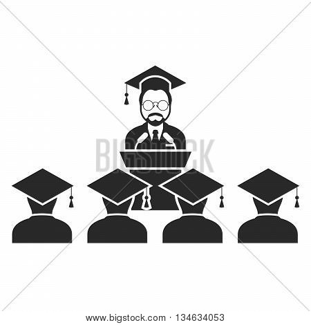 Speaker at rostrum and students - graduation class