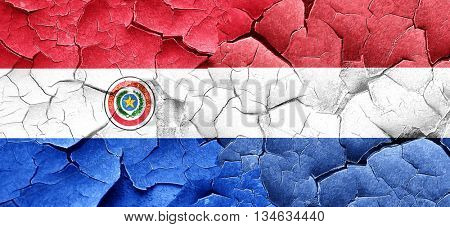 Paraguay flag with Netherlands flag on a grunge cracked wall