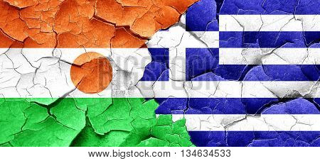niger flag with Greece flag on a grunge cracked wall