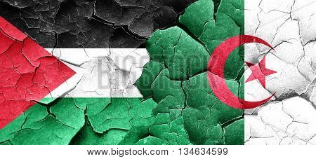 palestine flag with Algeria flag on a grunge cracked wall