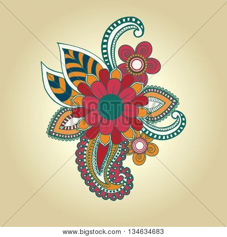 vector hand draw henna floral design element tattoo design ornate decorations. Vector abstract floral elements in indian mehndi style.