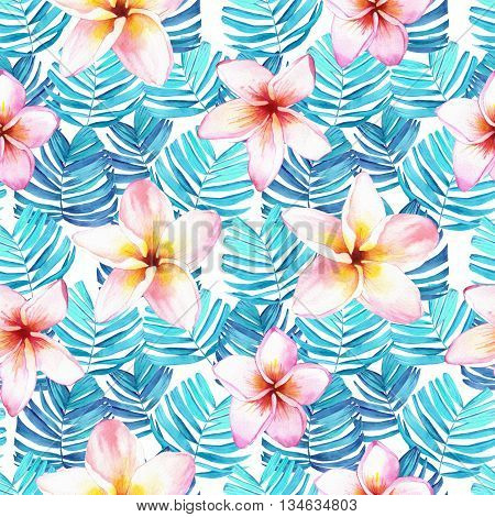 Beautiful pattern with tropical flowers and plants on white background. Composition with palm leaves and plumeria.
