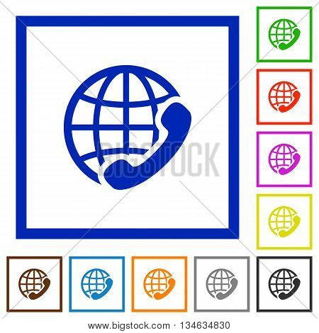 Set of color square framed international call flat icons