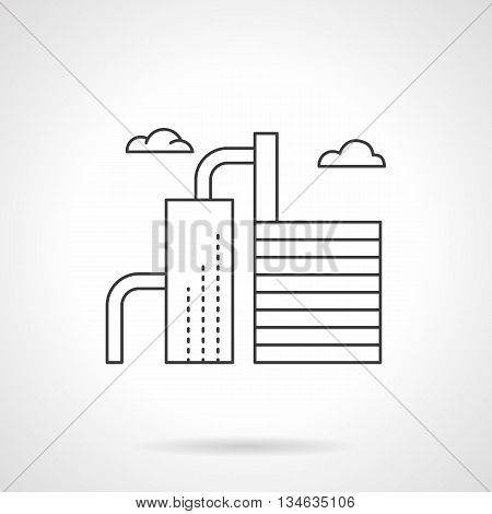 Oil refining, petroleum products, fuels and raw materials for further chemical processing. Industrial buildings and facilities. Flat line style vector icon.
