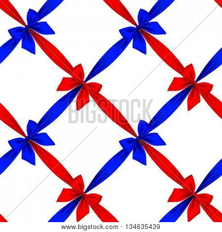 Red and blue ribbons and bows grid seamless pattern background isolated on white. 3D illustration