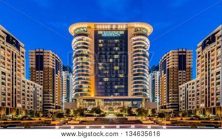 Baku - JUNE 13, 2014: Marriott Hotel on June 13 in Baku, Azerbai