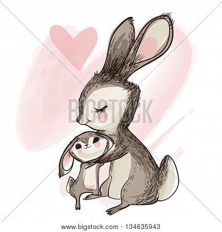 cute sweet little hare with his mom