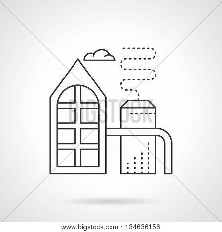 Industrial building. Refinery plant with pipes, smoke and cloud. Oil refining, chemical industry, fuel production. Ecology and saving environment problem. Flat line style vector icon.