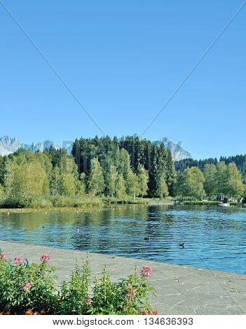 at Lake Schwarzsee near Kitzbuehel in Tirol,Alps,Austria