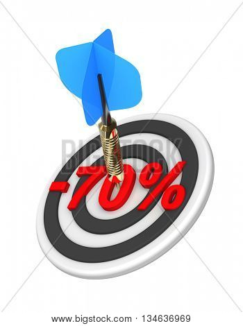 Dart hitting 70 percent off discount target. 3D illustration.