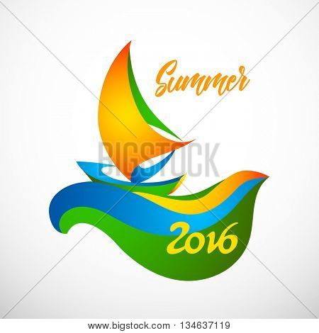 Sign sailing boat for Summer vacations 2016 in colors of the Brazilian flag. Brazil Carnival. Vector illustration