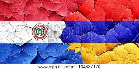 Paraguay flag with Armenia flag on a grunge cracked wall