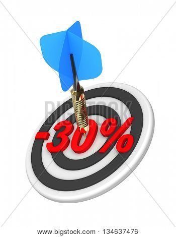 Dart hitting 30 percent off discount target. 3D illustration.