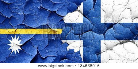 Nauru flag with Finland flag on a grunge cracked wall