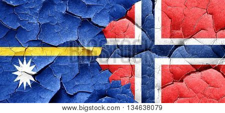 Nauru flag with Norway flag on a grunge cracked wall