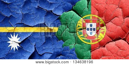 Nauru flag with Portugal flag on a grunge cracked wall
