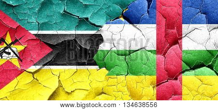 Mozambique flag with Central African Republic flag on a grunge c